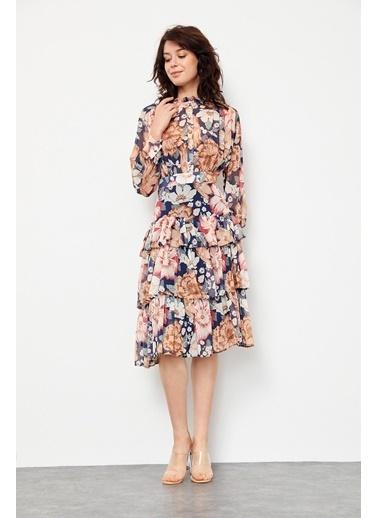 Setre Lacivert Dik Yaka Balon Kol Bele Oturan Diz Altı Floral Elbise Lacivert